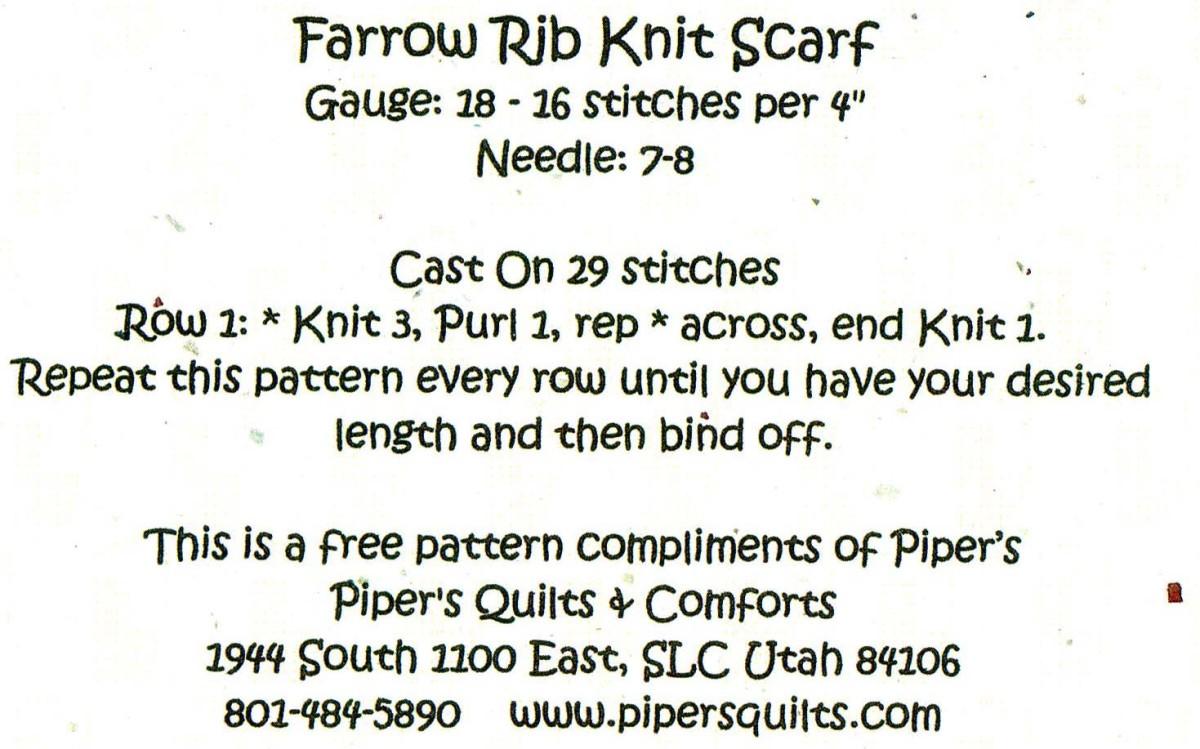 Farrow Rib Scarf Pattern