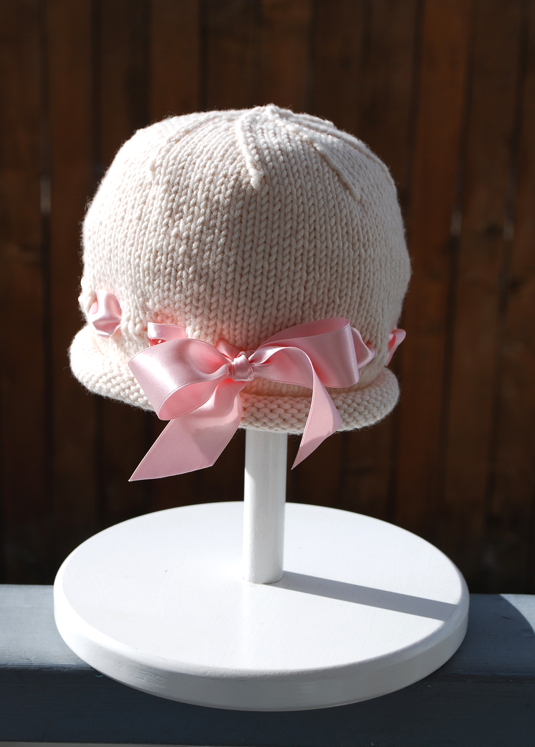 Knitting Needles Case Pattern : Ribbon Baby Bonnet   The Pipers Girls